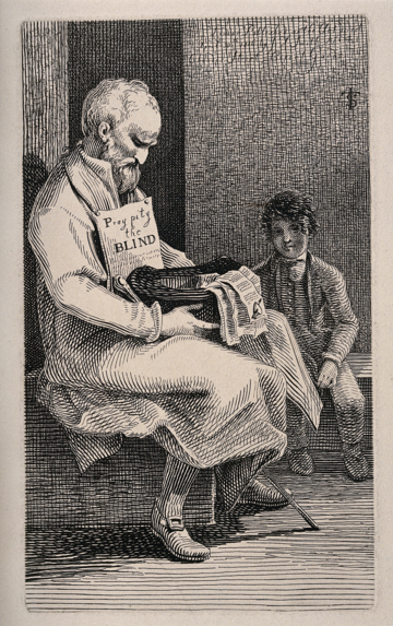 Blind beggar. Etching by J.T. Smith, 1816.